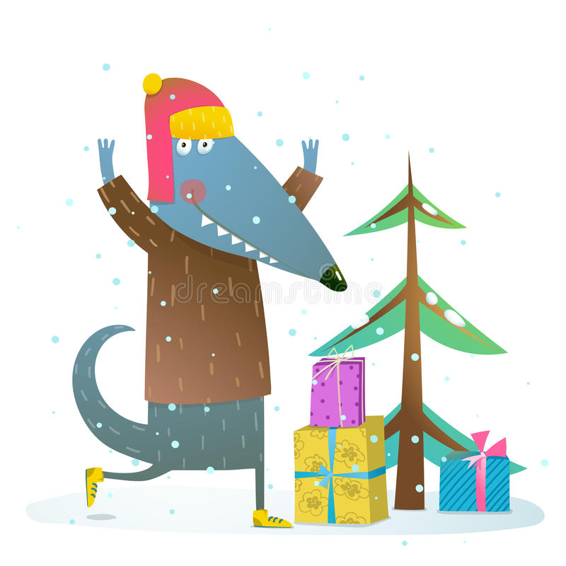 Perro o lobo que celebra vacaciones de invierno stock de ilustración