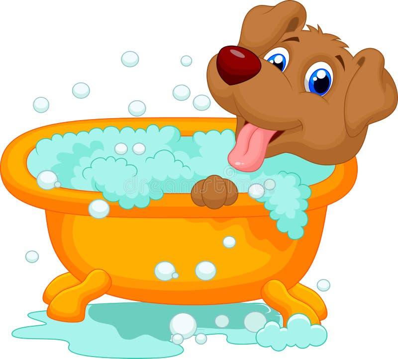 Perro que baña tiempo stock de ilustración