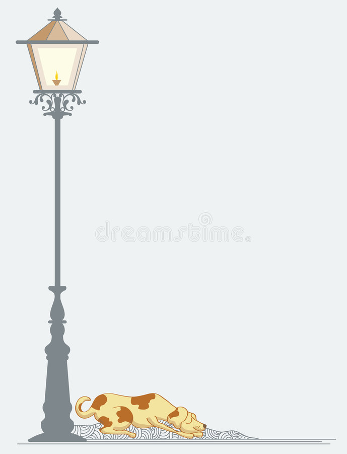 Perro que duerme cerca de la lámpara de calle stock de ilustración