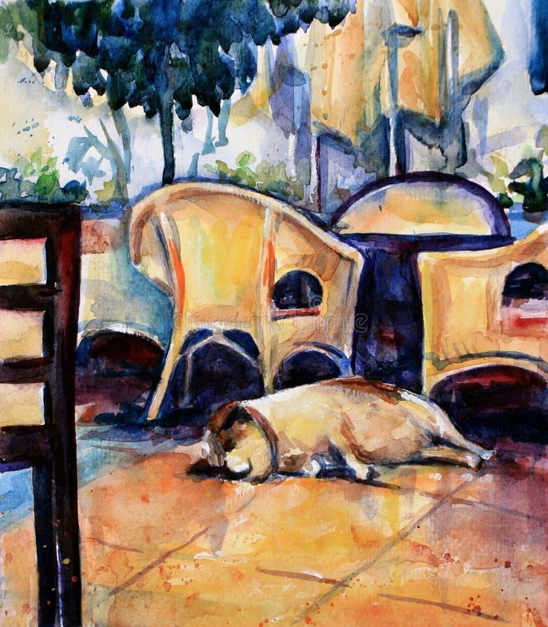 Perro que duerme en el suelo del café ilustración del vector
