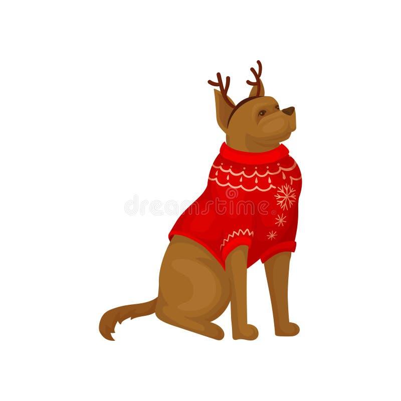 Perro que lleva el aro rojo del cuerno del suéter y del reno del día de fiesta Animal doméstico casero Regalo de la Navidad Icono stock de ilustración