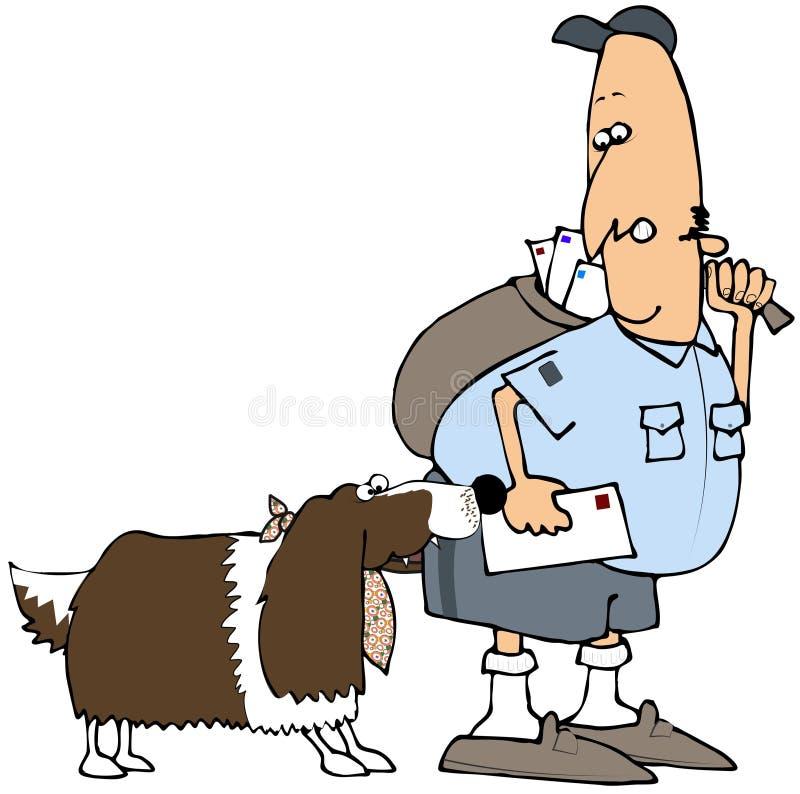 Perro que muerde a un hombre del correo libre illustration