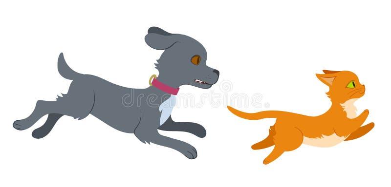 Perro que persigue un gato libre illustration