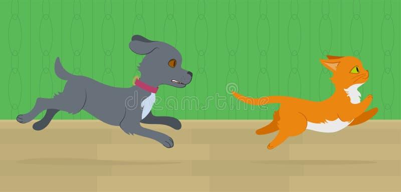 Perro que persigue un gato ilustración del vector