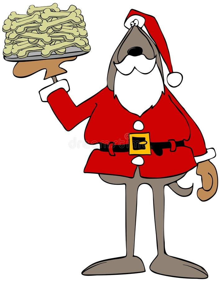 Perro Santa Claus que sostiene una placa de huesos ilustración del vector
