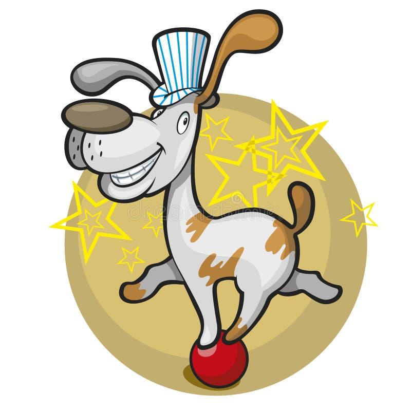 Perro del circo en la bola stock de ilustración