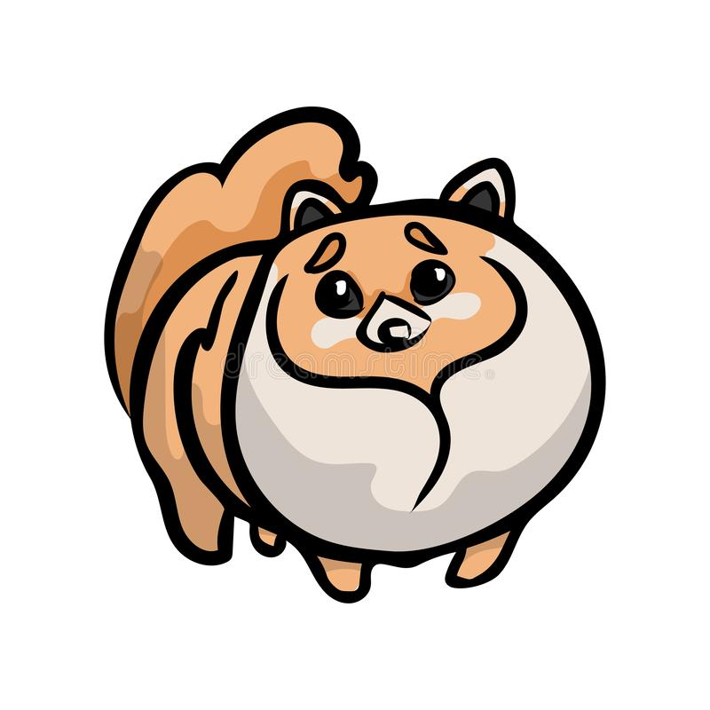 Perro triste lindo del perro de Pomerania del perrito que mira a su dueño stock de ilustración
