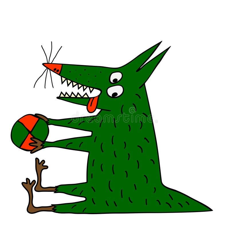 Perro verde extraño que juega con la bola del ? ilustración del vector