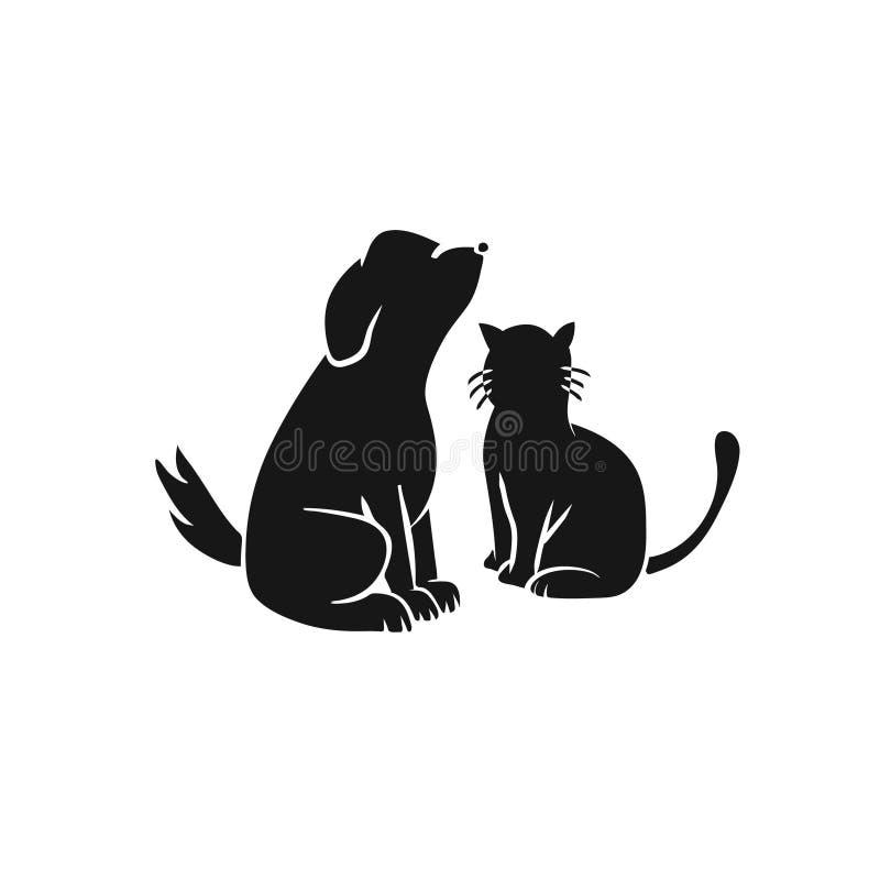 Perro y Cat Black Illustration en el fondo blanco ilustración del vector