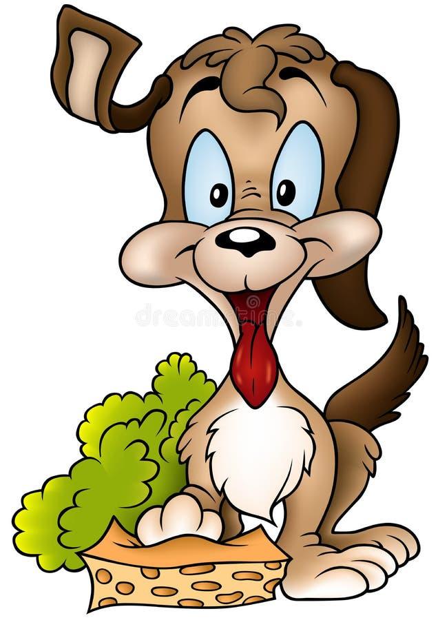 Perro y esponja stock de ilustración