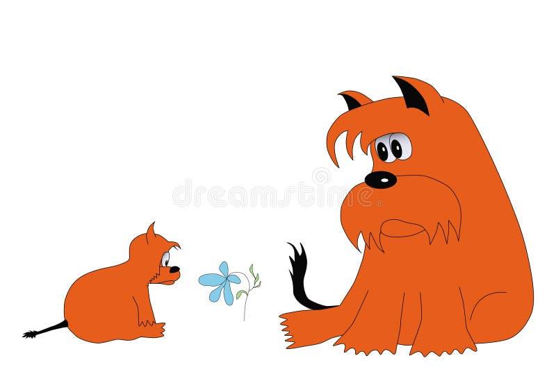 Download Perro y flor rojos ilustración del vector. Ilustración de vector - 41904727