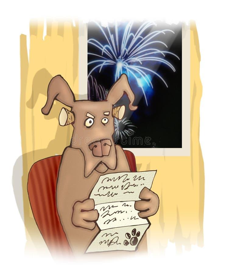 Perro y fuegos artificiales stock de ilustración