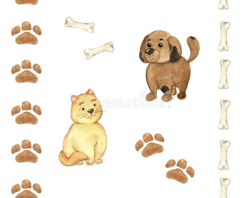 Perro y gato ilustración del vector