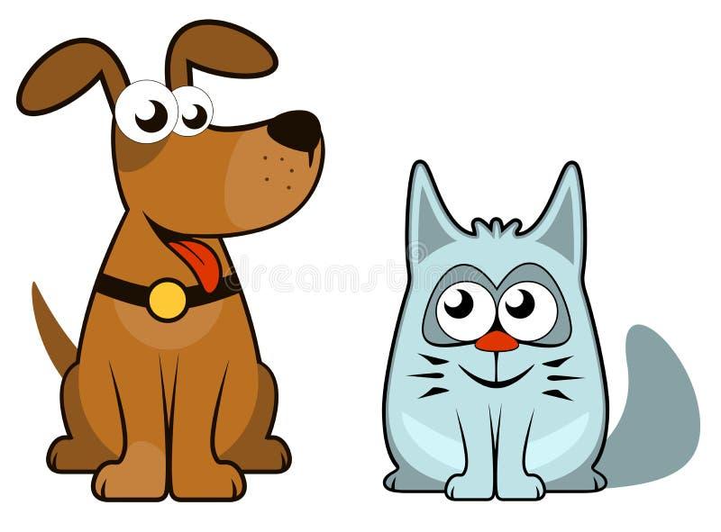 Perro y gato aislados historieta ilustración del vector