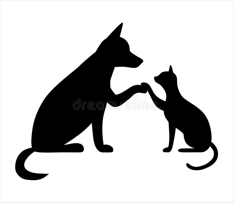 Perro y gato junto El perro lindo con el gato es mejores amigos, da cinco, animales domésticos de la historieta ilustración del vector