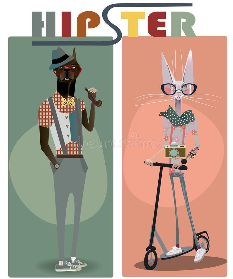 Perro y gato lindos del inconformista de la moda stock de ilustración
