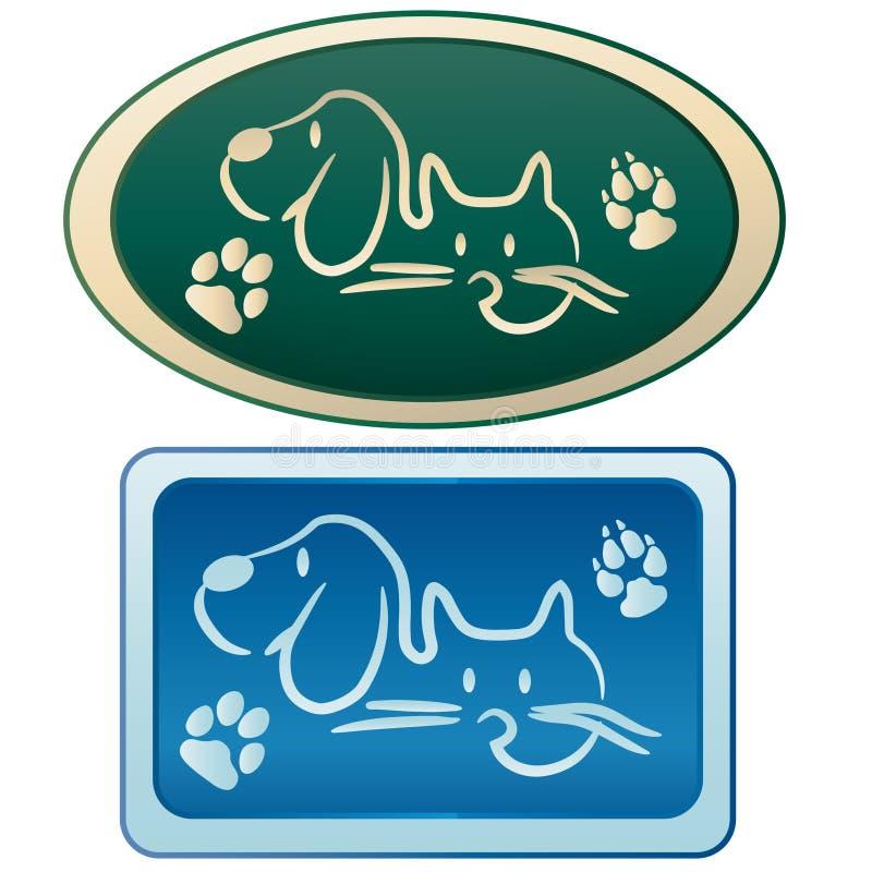 Perro y gato - logotipo de la preparación stock de ilustración