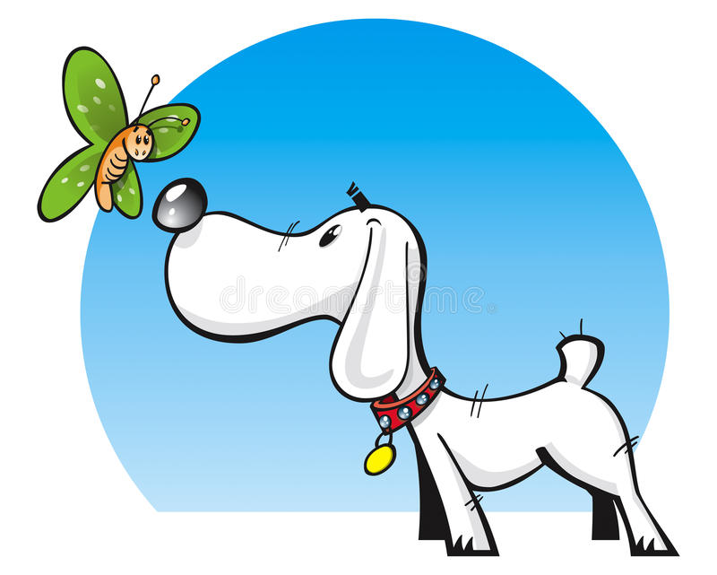 Perro y mariposa lindos ilustración del vector