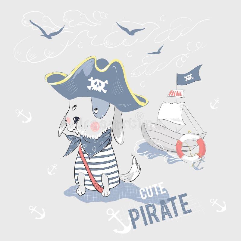 Perro y nave lindos del pirata con lema stock de ilustración