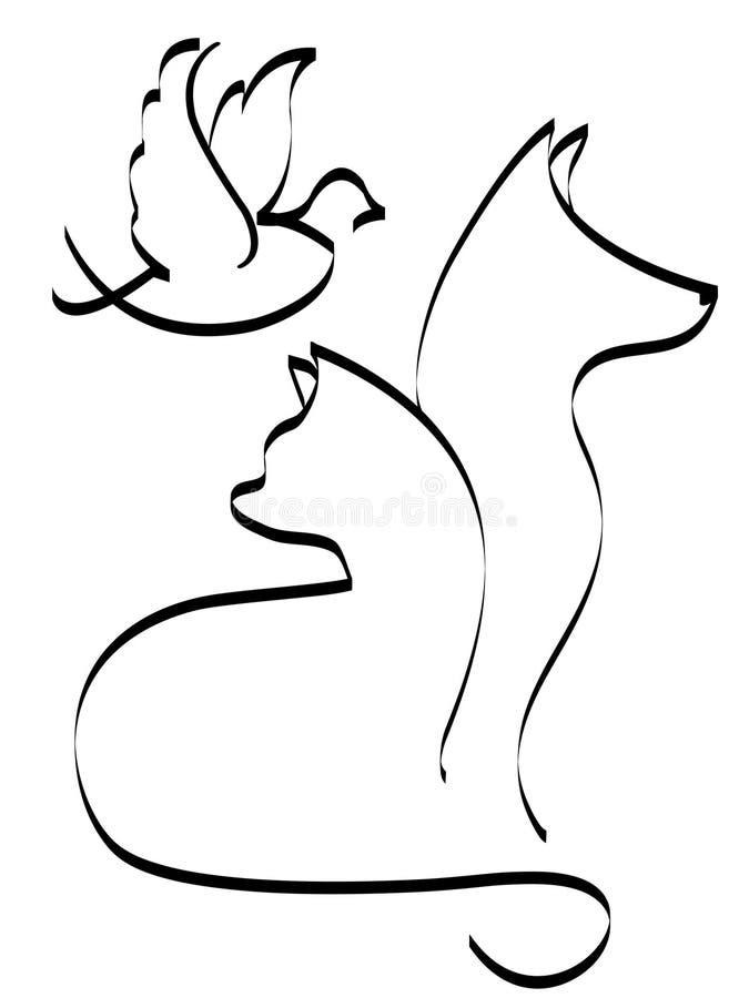Perro y pájaro del gato stock de ilustración