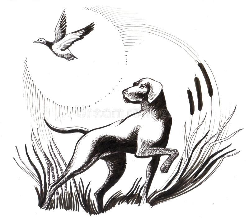 Perro y pato ilustración del vector