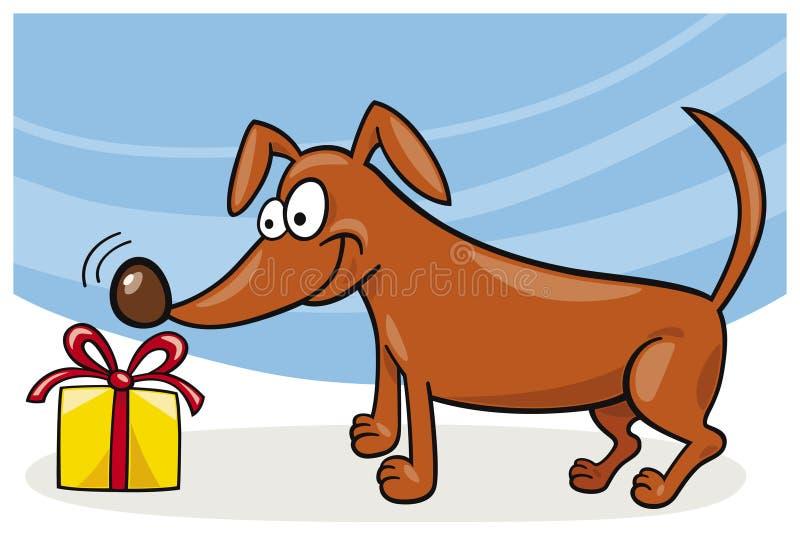 Perro y regalo de la Navidad ilustración del vector