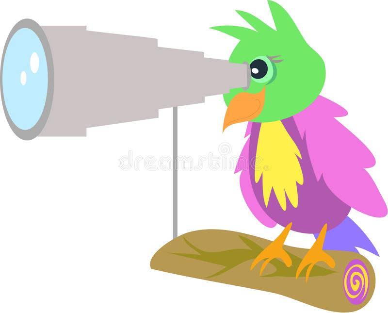 Perroquet avec le télescope illustration stock