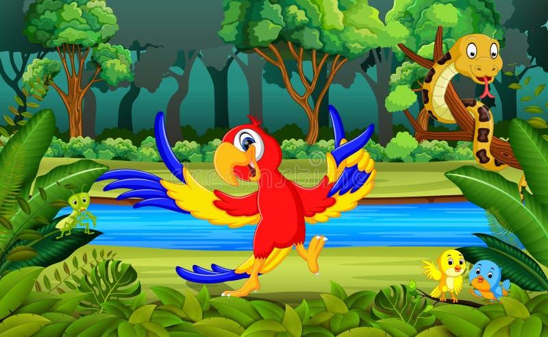 Perroquet dans la forêt illustration stock