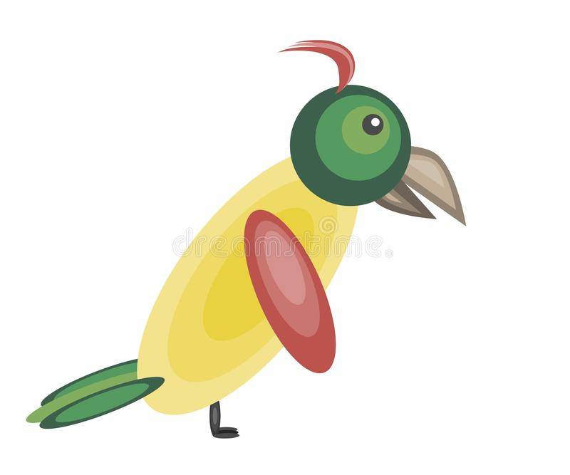Perroquet jaune coloré mignon illustration stock