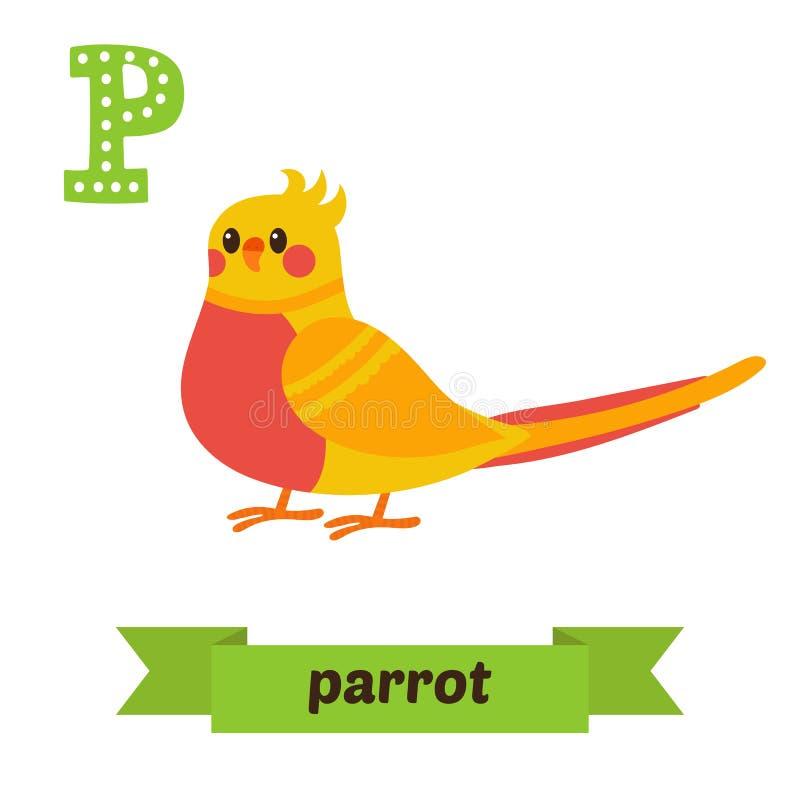 Perroquet Lettre de P Alphabet animal d'enfants mignons dans le vecteur drôle illustration libre de droits