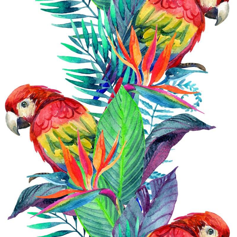 Perroquets d'aquarelle avec le modèle sans couture de fleurs tropicales illustration stock