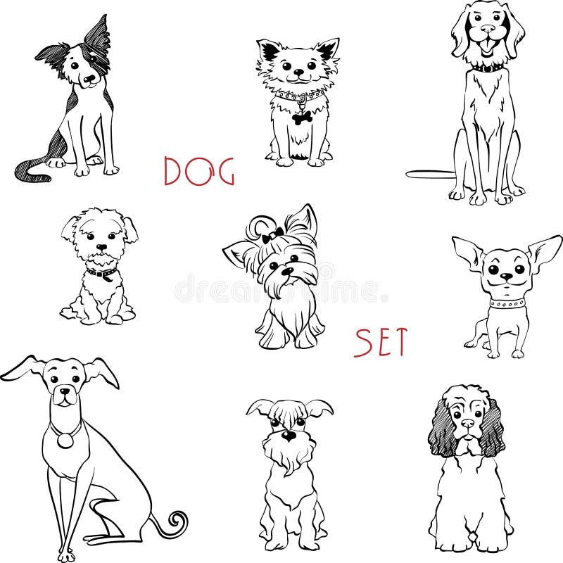 Perros blancos y negros determinados ilustración del vector