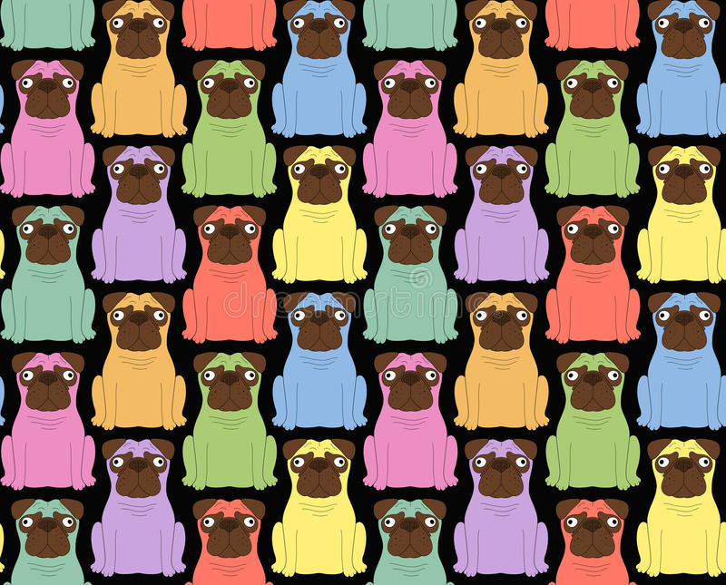 Perros coloreados divertidos Fondo inconsútil libre illustration