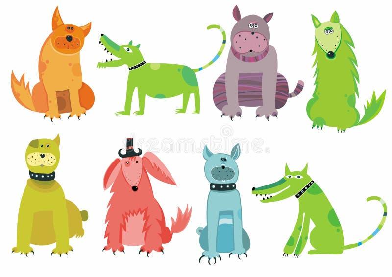 Perros Coloridos Fijados Fotografía de archivo libre de regalías