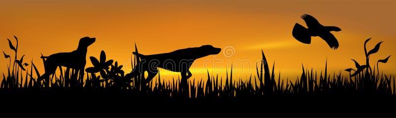 Perros de caza con el pájaro ilustración del vector