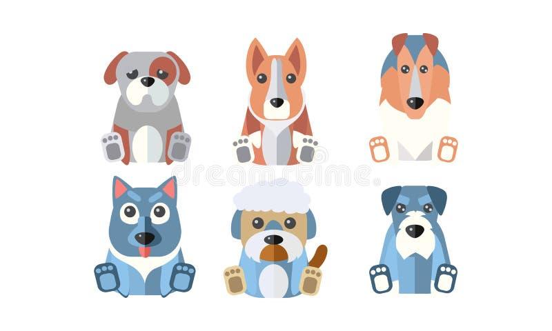 Perros de diverso sistema de las razas, ejemplo lindo del vector de los animales domésticos de los animales de la historieta en u stock de ilustración