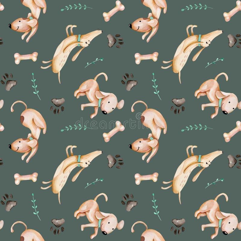 Perros divertidos lindos de la acuarela, pista del perro y modelo inconsútil de las ramas del verde stock de ilustración