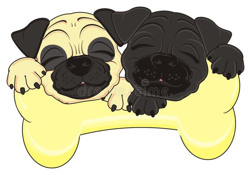 Perros el dormir y un hueso grande libre illustration