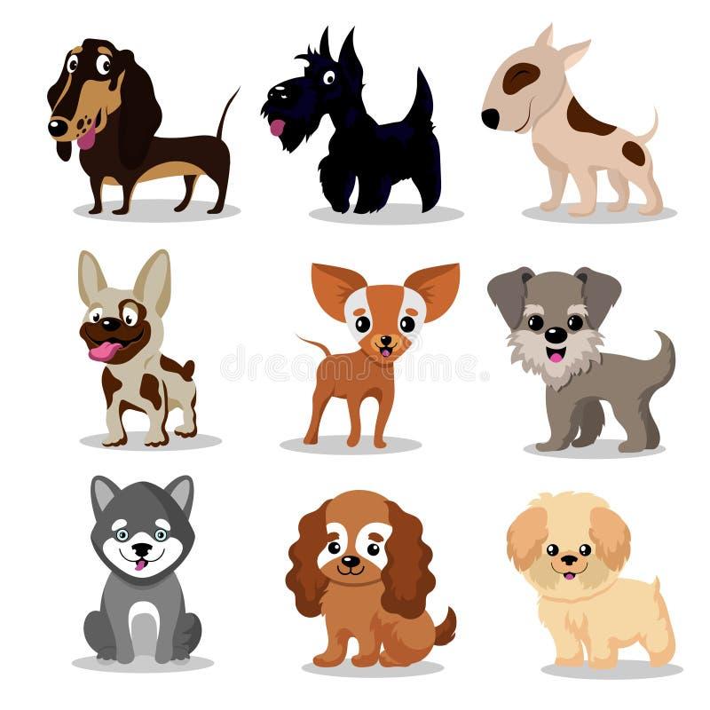 Perros felices lindos Colección divertida de los caracteres del vector de los perritos de la historieta stock de ilustración