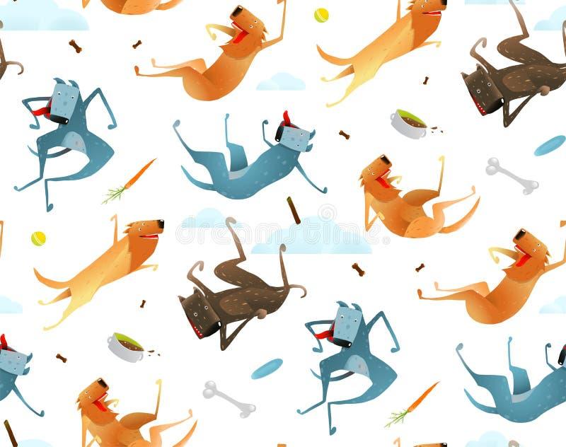 Perros felices y modelo inconsútil de la comida del perrito stock de ilustración