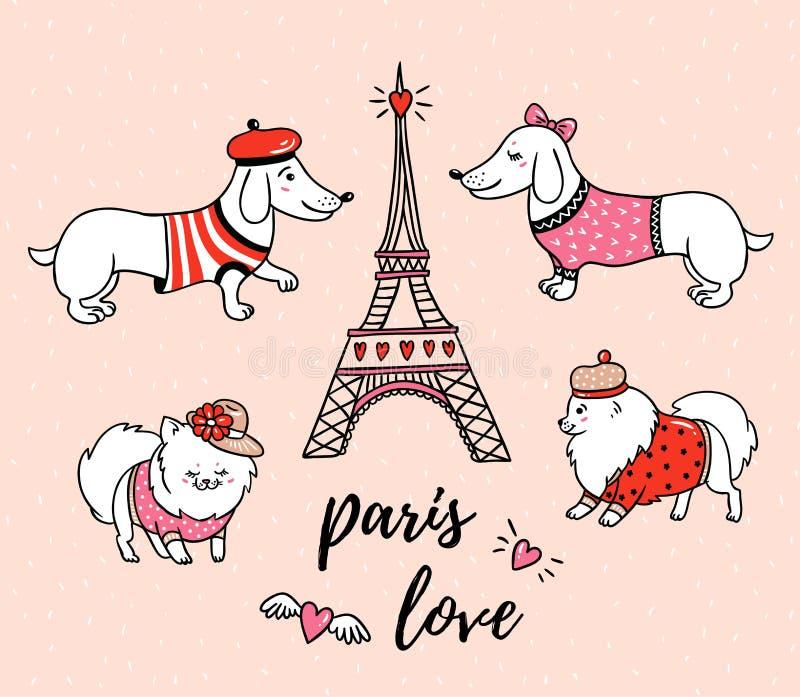 Perros Franceses Y Torre Eiffel Del Estilo Aislados En Fondo Rosado ...