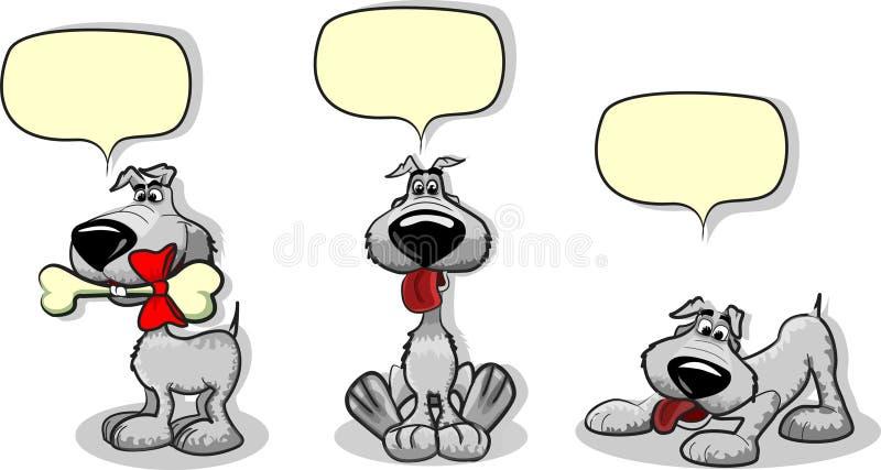 Perros lindos de la historieta y un vector de discurso de la burbuja stock de ilustración