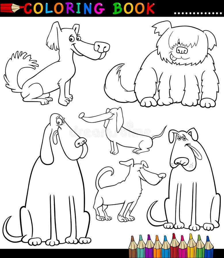Perros o perritos de la historieta para el libro de colorear libre illustration