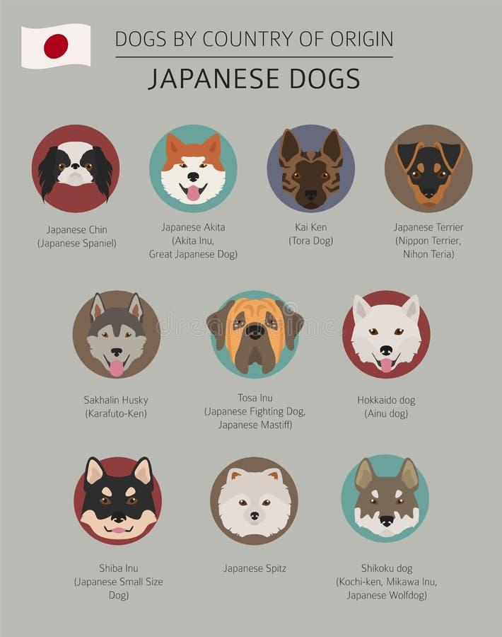 Perros por el país de origen Razas japonesas del perro Temporeros de Infographic ilustración del vector