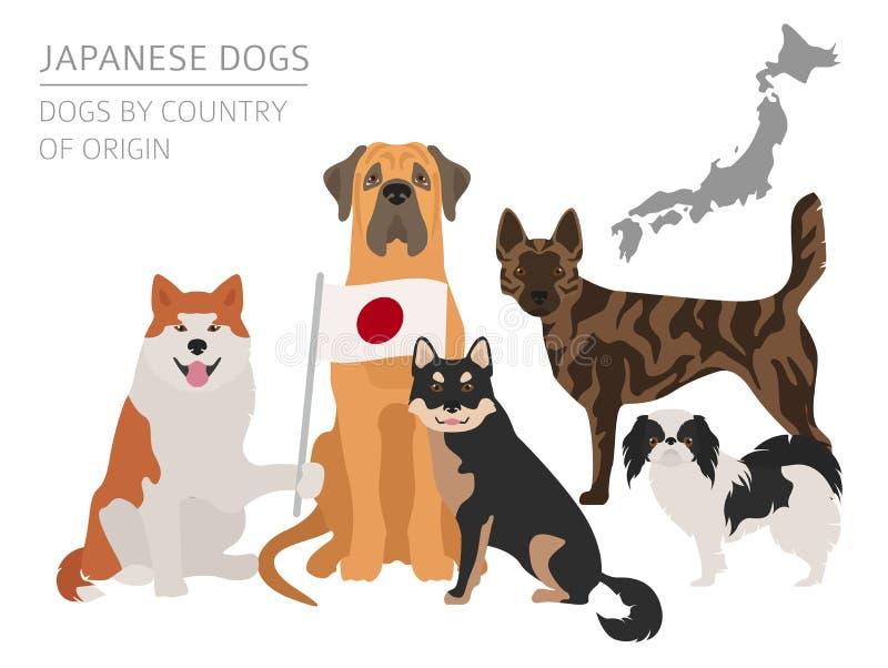 Perros por el país de origen Razas japonesas del perro Temporeros de Infographic stock de ilustración