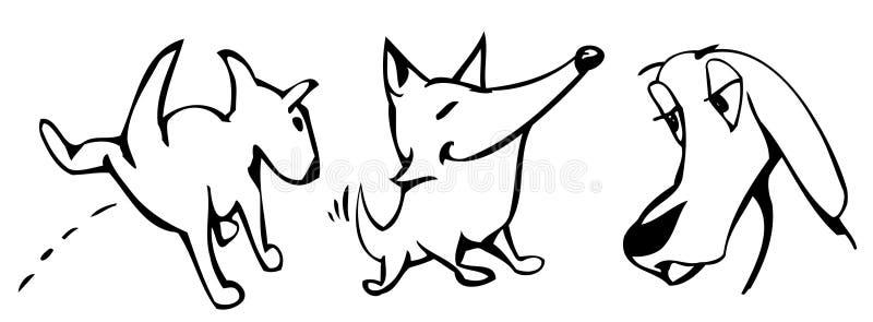 Perros tontos stock de ilustración