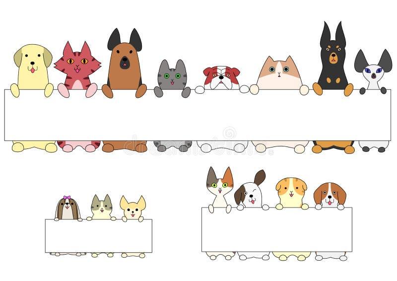 Perros y gatos que se colocan con la tarjeta libre illustration