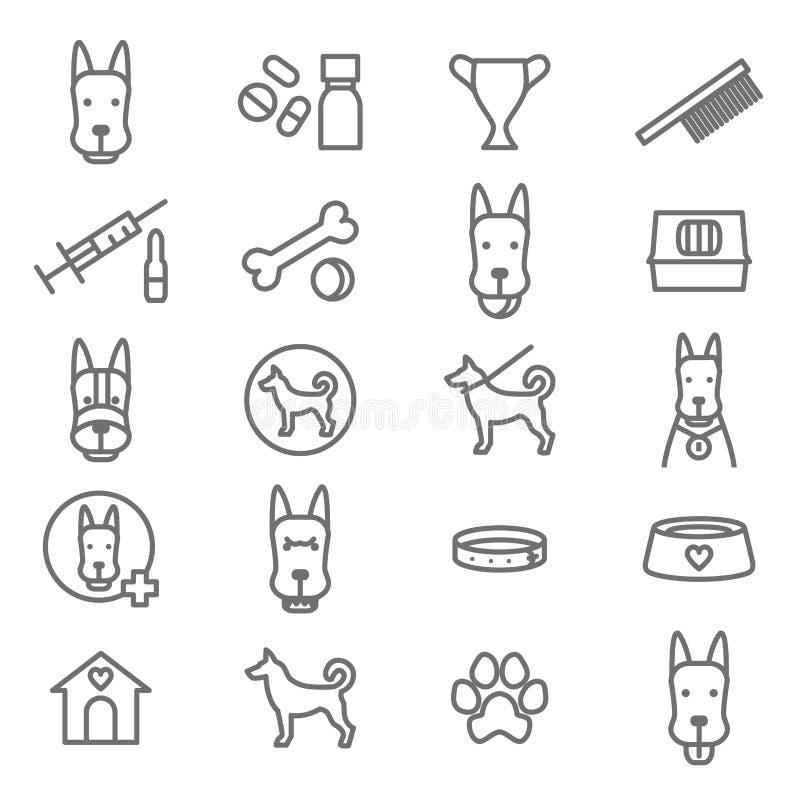 Perros y línea fina negra sistema del perrito del icono Vector ilustración del vector