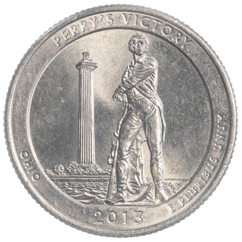 Perrys胜利俄亥俄纪念四分之一硬币 免版税图库摄影