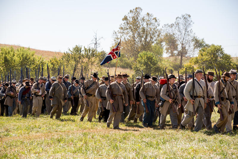 Perryville Confederate army. Perryville, Kentucky - October 8, 2016: Actors prepare for a Civil War battle reenactment in Perryville Kentucky, on October 8, 2016